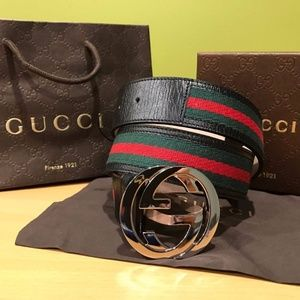 Authentic New Gucci Black Red green strips Belt